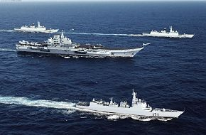Artist conception of the new Chinese carrier battle group at sea
