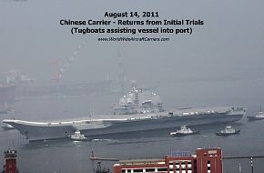 The new Chinese, PLAN Aircraft Carrier returns from sea trials