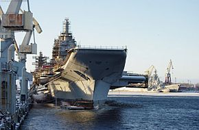 Indian Vikramaditya Aircraft carrier in morring trials