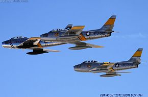 USAF F-86 Sabre Fighters - Horsemen Flight Demonstration Team