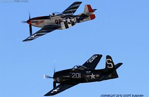 USAAC P-51 Mustang and US Navy F8F Bearcat Fighters