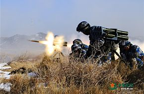 China Marines fire the man-portable cluster rocket launcher