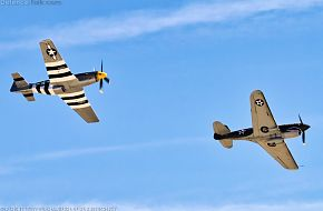 US Army Air Corps P-51D Mustang and P-40K Warhawk