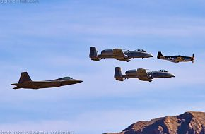 USAF Heritage Flight-F-22A Raptor, A-10 Thunderbolt II and P-51 Mustang