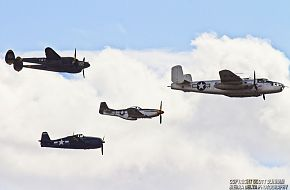 USAAC B-25 Mitchell P-38 Lightning P-51 Mustang Pursuit Aircraft and US Navy F6F Hellcat Fighter