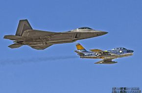 USAF Heritage Flight F-22A Raptor and F-86 Sabre Fighters