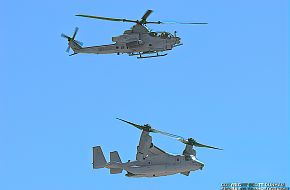 USMC AH-1Z Viper Gunship and MV-22 Osprey Tilt-Rotor