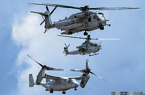 USMC CH-53E Super Stallion, AH-1Z Viper and MV-22 Osprey