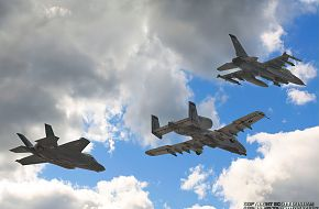 USAF F-35A Panther, A-10 Warthog and F-16 Viper Fighter/Attack Aircraft
