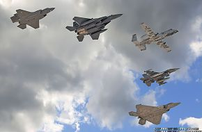 USAF F-35A Panther, F-15E Strike Eagle, A-10 Warthog, F-16 Viper & F-22A Raptor Fighter/Attack