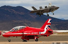 RAF Red Arrows Hawk T1A and USMC F-35B Lightning II