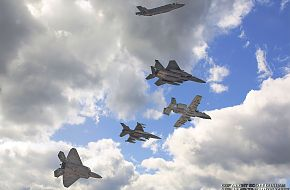 USAF F-35A Panther, F-15E Strike Eagle, A-10 Warthog, F-16 Viper & F-22A Raptor Fighter/Attack Aircr
