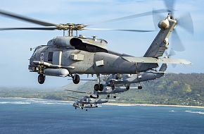 US Navy MH-60R Seahawk Helicopters Fly In Formation