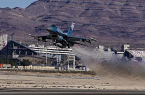 F-16 Fighting Falcon, US Air Force, Takes Off At Nellis Air Force Base