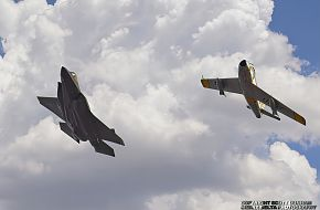 USAF Heritage Flight-F-35A Panther and F-86 Sabre