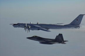 F-22 Raptor Intercepts Tu-142 Reconnaissance Aircraft