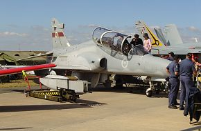 RAAF Hawk Mk 127 lead-in fighter with 30mm gunpod at Avalon Airshow