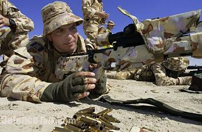 Australian and British snipers conducting a range shoot in Iraq