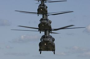 C Squadron 5 Avn Regt CH-47D Chinooks lined up for 10th anniversary celebra