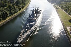 FGS Bayern passing Kiel Canal between Baltic and North Sea.