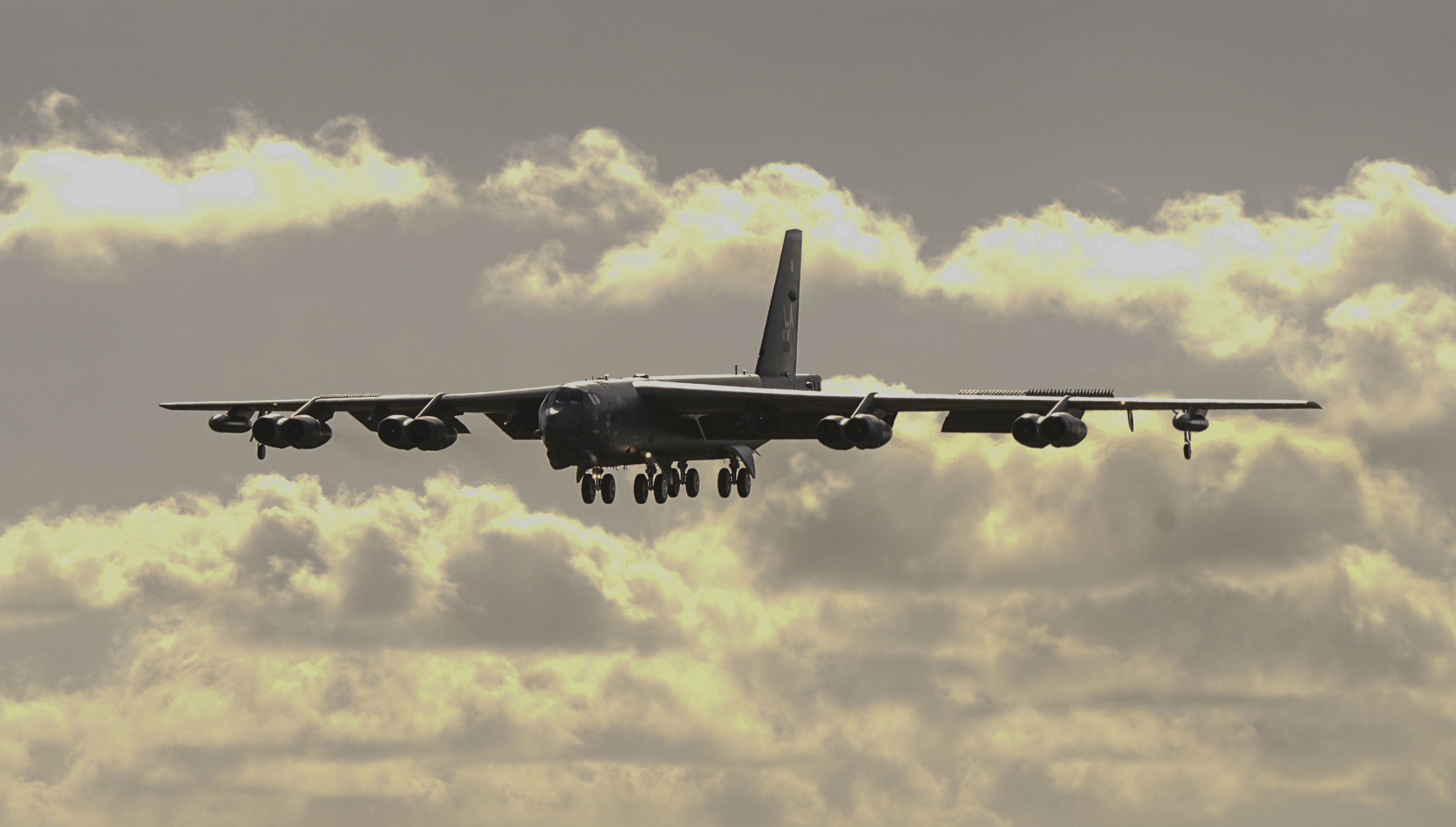 B-52H Stratofortress bomber prepares to land