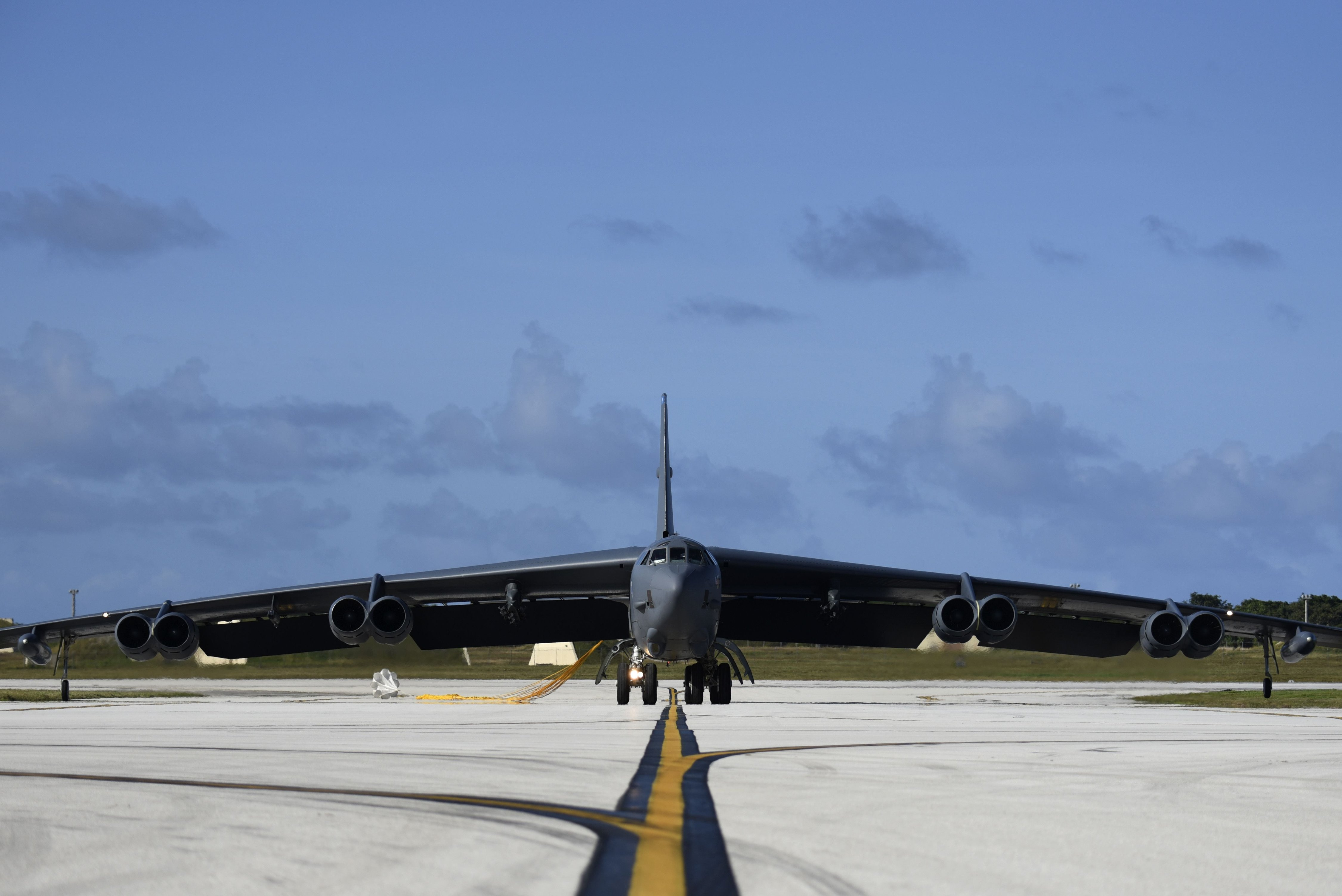 B-52H Stratofortress bomber taxis after landing