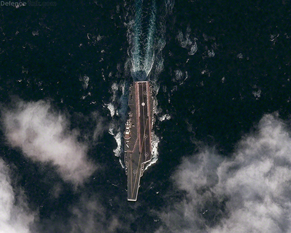 Satellite view of Varyag Aircraft Carrier, China