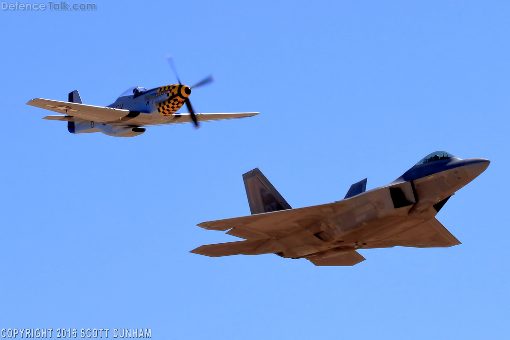 USAF Heritage Flight F-22A Raptor and P-51 Mustang