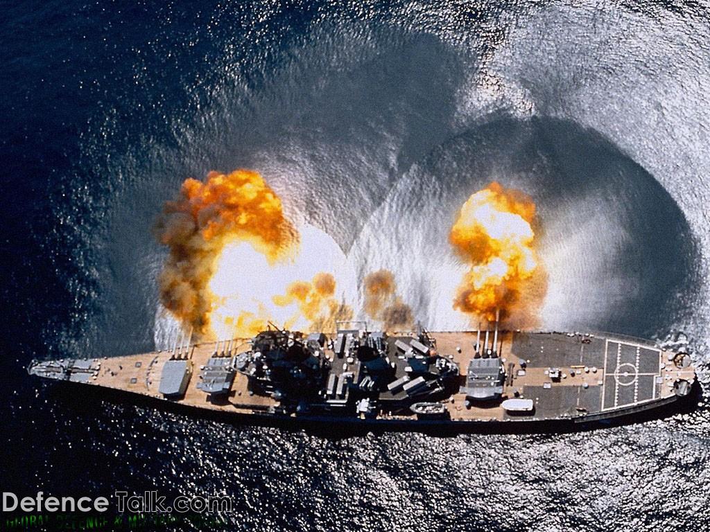 USN Battleship firing - Navy ships wallpapers