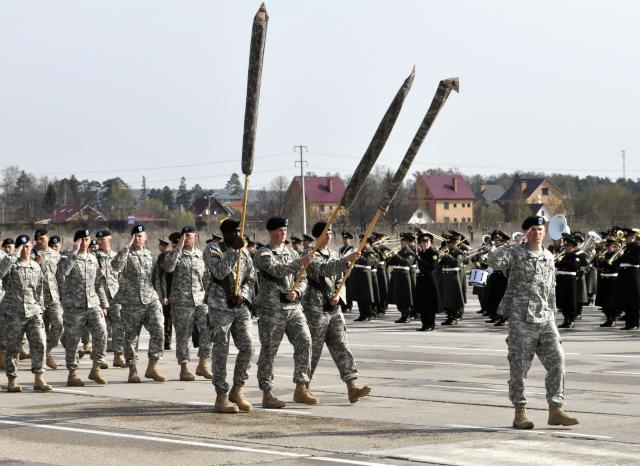 US Army Europe Soldiers marching into history in Moscow