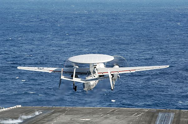 Aircraft Carrier Makes First E-2D Adva...