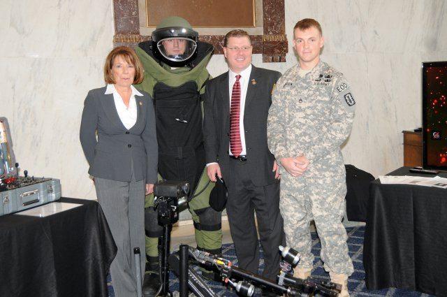 Explosive Ordnance Disposal techs show Congress bomb disposal tools