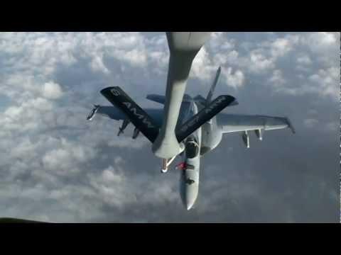 US Navy F/A-18 Super Hornets Refuel