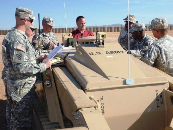 Soldiers train with remote-controlled mine-clearing system
