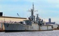 British Falklands warship towed away for scrap