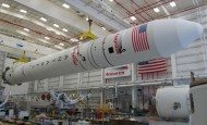 An assembled Antares rocket in the Horizontal Integration Facility