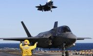 F-35B landing on the amphibious assault ship USS Wasp (LHD 1)