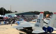 Two F-15 Eagle sit on static display during Aero India 15, Feb. 19, 2015, at Air Force Station Yelahanka in Bengaluru, India. The F-15s are assigned to the 44th Fighter Squadron at Kadena Air Base, Japan. Aero India is India's premier aerospace exhibition and airshow and allowed the U.S. to demonstrate its commitment to the security of the Indo-Asia-Pacific region and showcase defense aircraft and equipment, which ultimately contributes toward better regional cooperation and tactical compatibility with other countries. This year marks the 10th iteration of Aero India since its inception in 1996. (U.S. Air Force photo/Airman 1st Class Stephen G.Eigel)