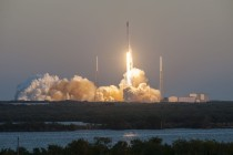 A SpaceX Falcon 9 rocket launches the Deep Space Climate Observatory for DSCOVR, a partnership among the National Oceanic and Atmospheric Administration, NASA and the Air Force. DSCOVR is intended to replace NASA's Advanced Composition Explorer, the only satellite providing real-time solar wind observations. Photo courtesy of SpaceX, used by permission