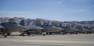 Five F-22 Raptors from Tyndall AFB
