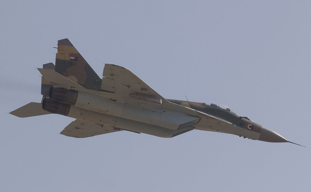 syrian mig29 fighter jets performing sorties with r77